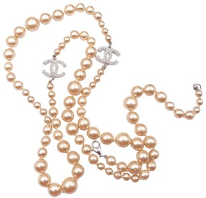 Chanel Chanel Classic Silver CC Golden Faux Pearl Long Pearl Necklace