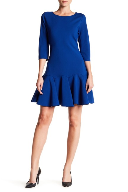 Item - Royal Blue Heritage 3/4 Sleeve Pleated Hem Ponte Short Casual Dress Size 8 (M)