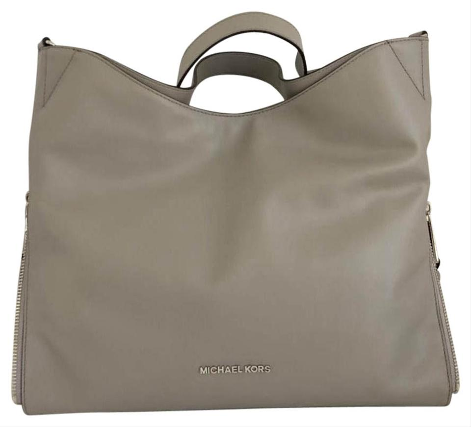 c74f9e57c456 MICHAEL Michael Kors Devon Large Pearl Grey Leather Tote - Tradesy