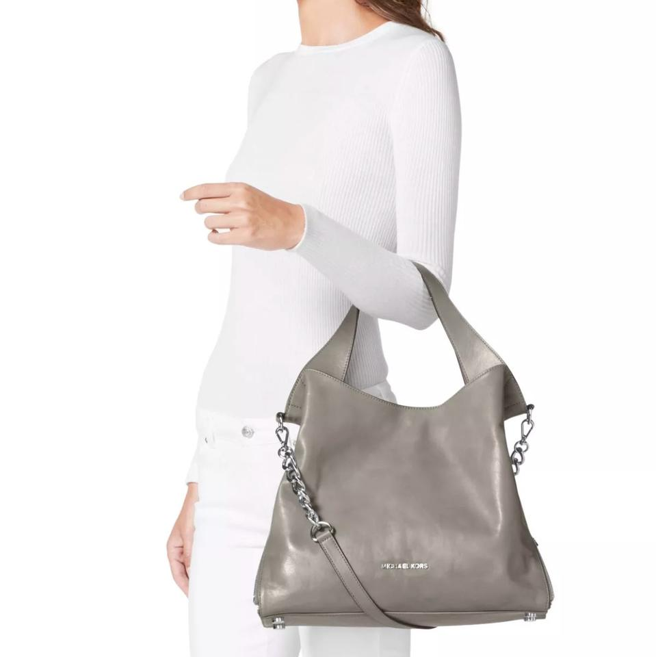 9a1cc87cbb3fd MICHAEL Michael Kors Devon Large Pearl Grey Leather Tote - Tradesy