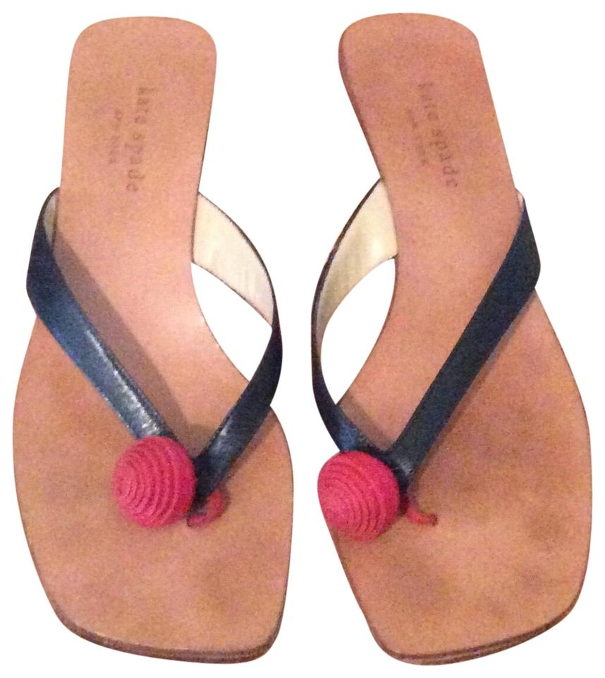 Kate Navy Red Spade Leather With Slides Mules 6Trfn6wq