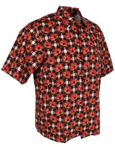 Prada Multicolor New Men's Ucs280 Camacia Wallpaper Floral and Check Dress Shirt