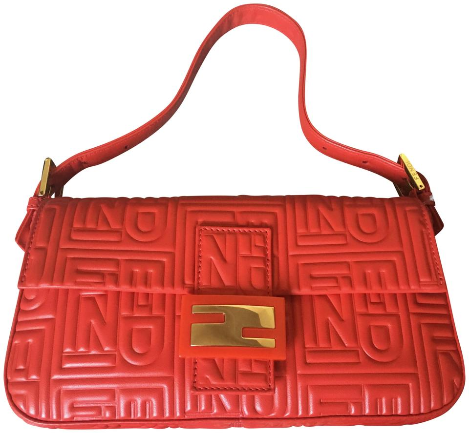 634864889526 Fendi Embossed Metallic Red Nappa Calfskin Leather Baguette - Tradesy