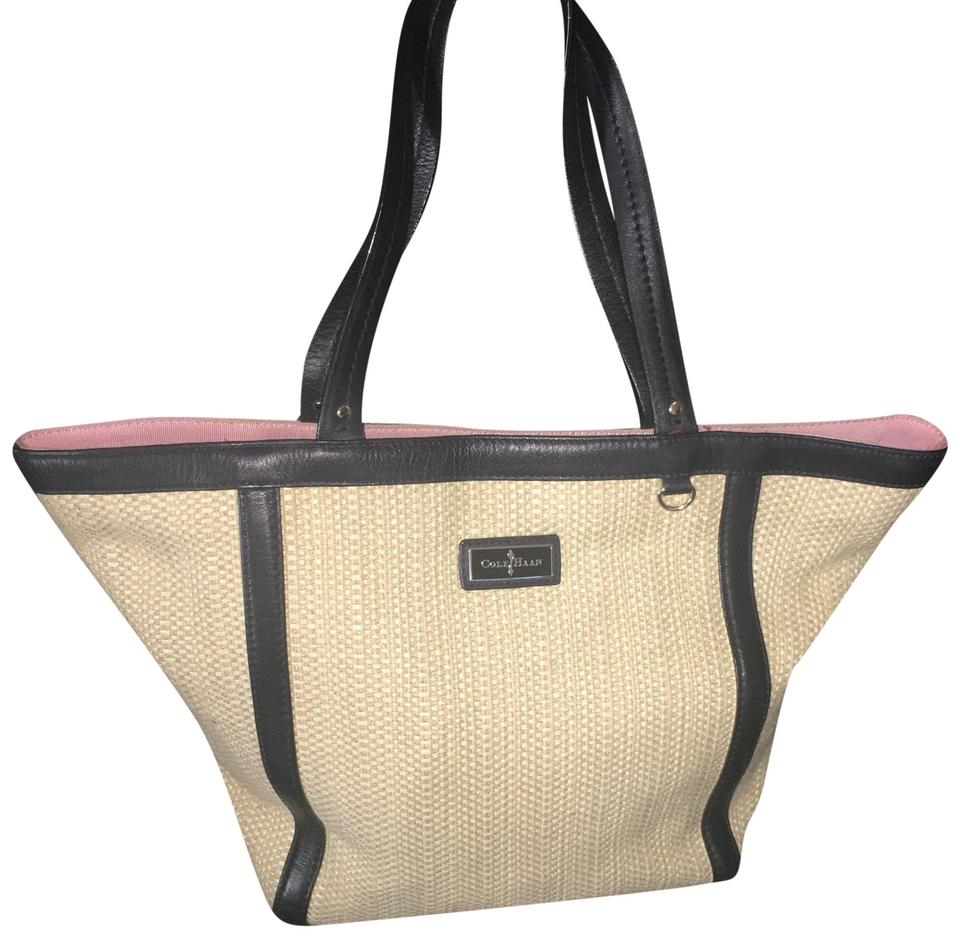 212470a60a3 Cole Haan With Trim Yellow Black Woven Leather Tote - Tradesy