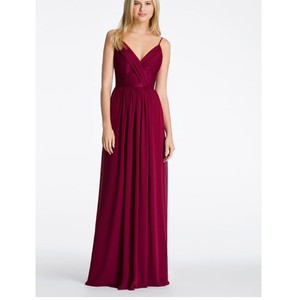 Hayley Paige Burgundy Chiffon 5618 Feminine Bridesmaid/Mob Dress Size 12 (L)