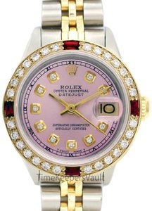 Rolex Womens Rolex Steel & Gold 26mm Datejust Pink Diamond and Ruby Watch