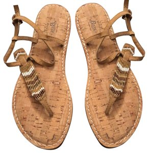 G.H. Bass & Co. Tan, brown, white, gold Sandals