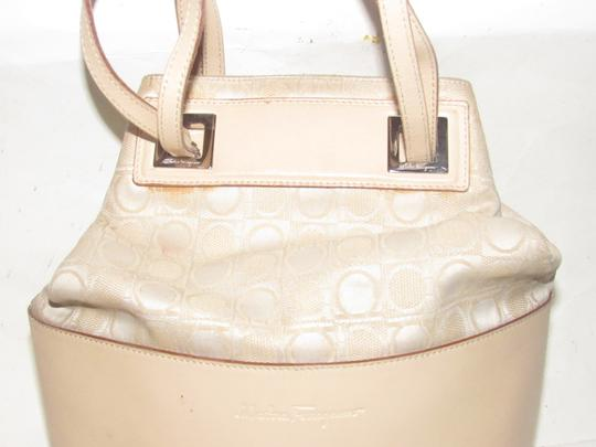 Salvatore Ferragamo Mint Vintage Drawstring Top Bucket Style Pink/Blush/Nude Satchel in blush colored Gancini print canvas and pale pink/nude leather Image 6