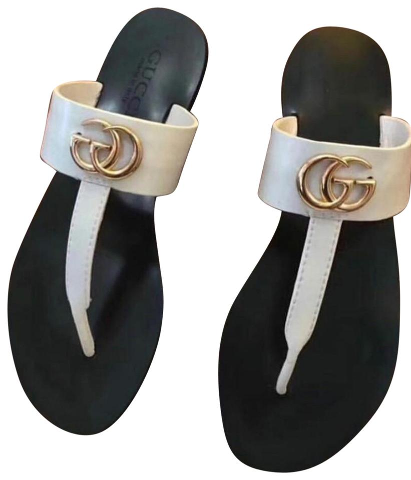 981d45608626 Gucci White Marmont Flat Leather Thong Sandals Size EU 40 (Approx ...