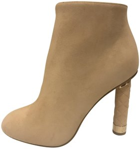 Chanel Heels Quilted Suede Ankle Beige Boots