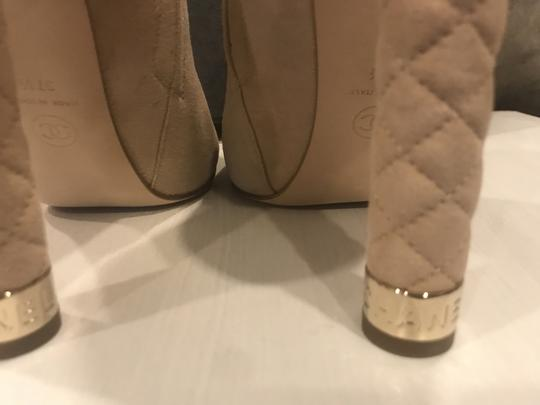 Chanel Heels Quilted Suede Ankle Beige Boots Image 1