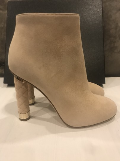 Chanel Heels Quilted Suede Ankle Beige Boots Image 11