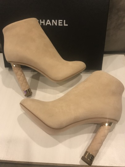 Chanel Heels Quilted Suede Ankle Beige Boots Image 3