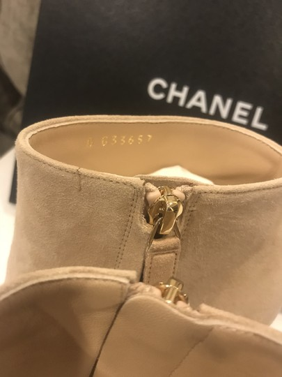 Chanel Heels Quilted Suede Ankle Beige Boots Image 5