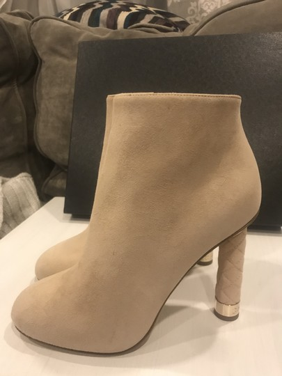 Chanel Heels Quilted Suede Ankle Beige Boots Image 7