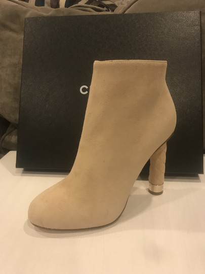 Chanel Heels Quilted Suede Ankle Beige Boots Image 9