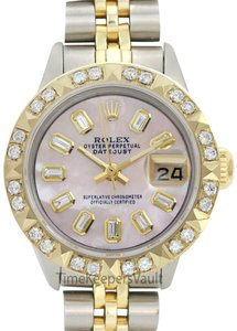 Rolex Womens Rolex Steel & Gold 26mm Datejust Pink MOP Diamond Watch