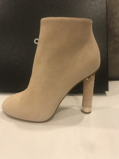 Chanel Heels Quilted Suede Ankle Beige Boots Image 10