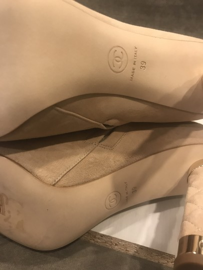 Chanel Heels Quilted Suede Ankle Beige Boots Image 4
