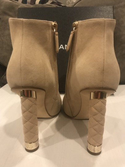 Chanel Heels Quilted Suede Ankle Beige Boots Image 6