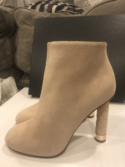 Chanel Heels Quilted Suede Ankle Beige Boots Image 8
