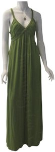 Green-Stem Maxi Dress by Max Studio V-neck A-line Silhouette Spaghetti Straps Bow Knot At Chest Tubing Design