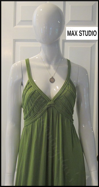 Green-Stem Maxi Dress by Max Studio V-neck A-line Silhouette Spaghetti Straps Bow Knot At Chest Tubing Design Image 1