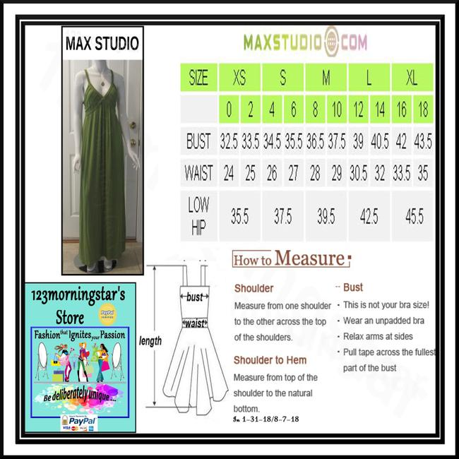 Green-Stem Maxi Dress by Max Studio V-neck A-line Silhouette Spaghetti Straps Bow Knot At Chest Tubing Design Image 10