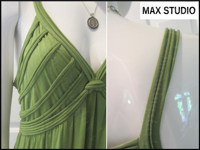 Green-Stem Maxi Dress by Max Studio V-neck A-line Silhouette Spaghetti Straps Bow Knot At Chest Tubing Design Image 3