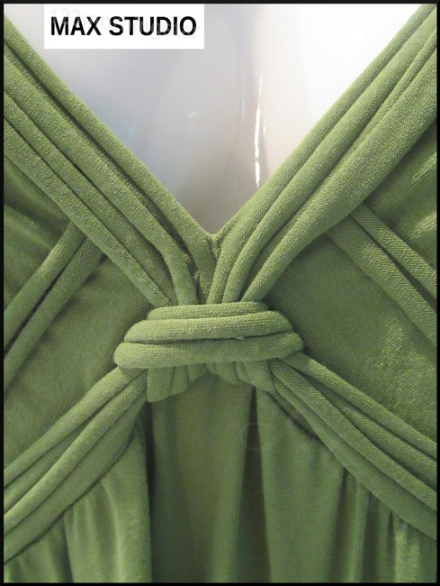 Green-Stem Maxi Dress by Max Studio V-neck A-line Silhouette Spaghetti Straps Bow Knot At Chest Tubing Design Image 4