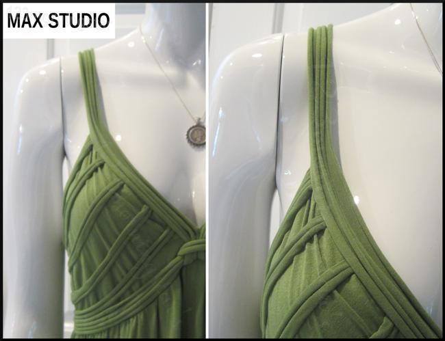 Green-Stem Maxi Dress by Max Studio V-neck A-line Silhouette Spaghetti Straps Bow Knot At Chest Tubing Design Image 6
