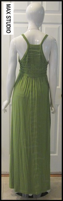 Green-Stem Maxi Dress by Max Studio V-neck A-line Silhouette Spaghetti Straps Bow Knot At Chest Tubing Design Image 7
