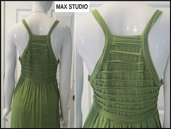 Green-Stem Maxi Dress by Max Studio V-neck A-line Silhouette Spaghetti Straps Bow Knot At Chest Tubing Design Image 8