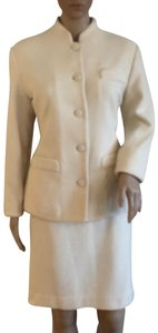 Barneys New York Classic winter white skirt suit with tiny amount of ivory satin trim.