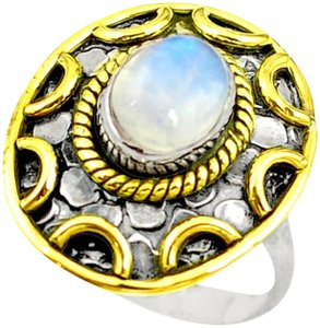 Other New 925 Silver Natural Moonstone Ring 7.5