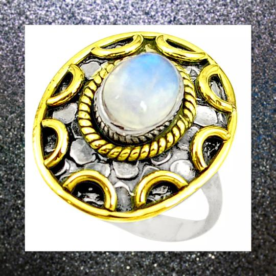 Other New 925 Silver Natural Moonstone Ring 7.5 Image 2