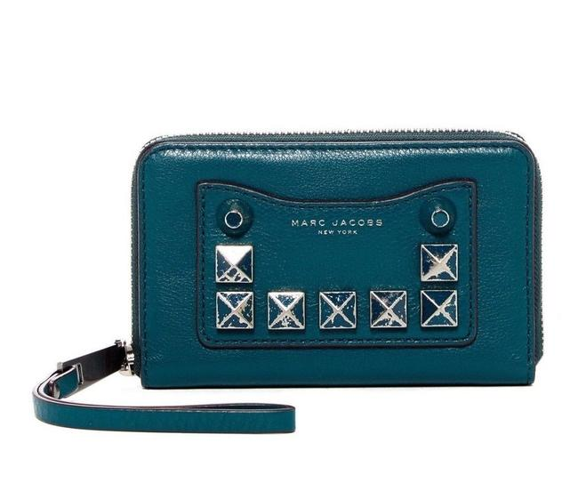 Item - Recruit Chipped Studded Zip Around Phone Blue Green Teal Leather Wristlet