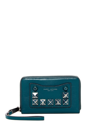 Marc Jacobs Recruit Chipped Studded Phone Pocket Ip Around Wristlet in Blue Teal Image 2