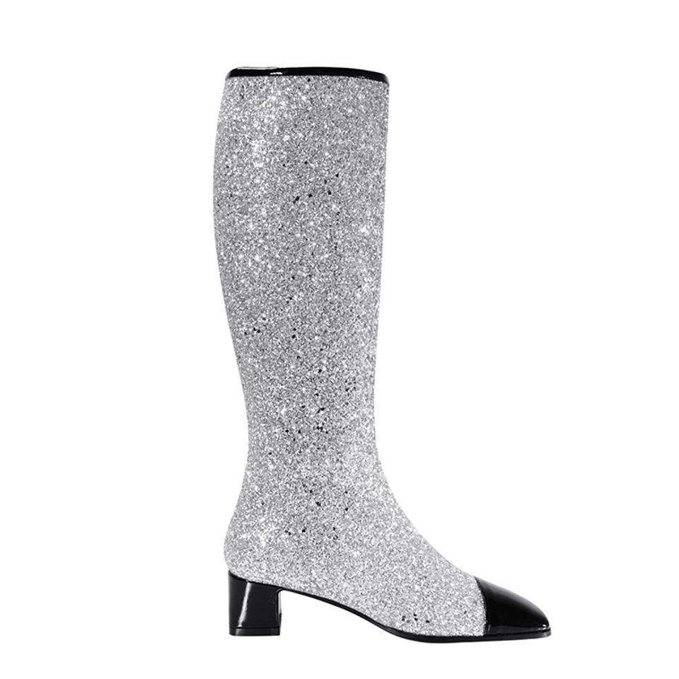 62f6f87be7d6 Chanel Silver/Black 17k Milky Way Glitter Patent Cap Toe Knee High Tall  Boots/Booties