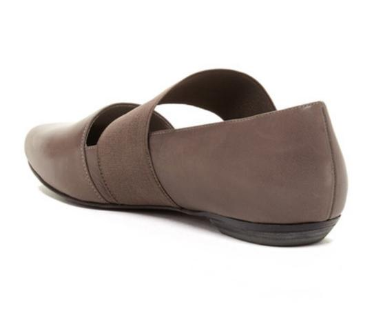 Eileen Fisher Comfy Mary Jane Easy Slip On Styling Stretch Instep Strap Supple Leather Gray Flats Image 1