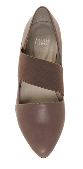 Eileen Fisher Comfy Mary Jane Easy Slip On Styling Stretch Instep Strap Supple Leather Gray Flats Image 2