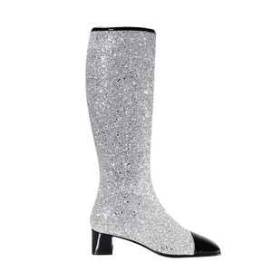 Chanel Glitter Milky Way Fabric Knee High Silver/Black Boots