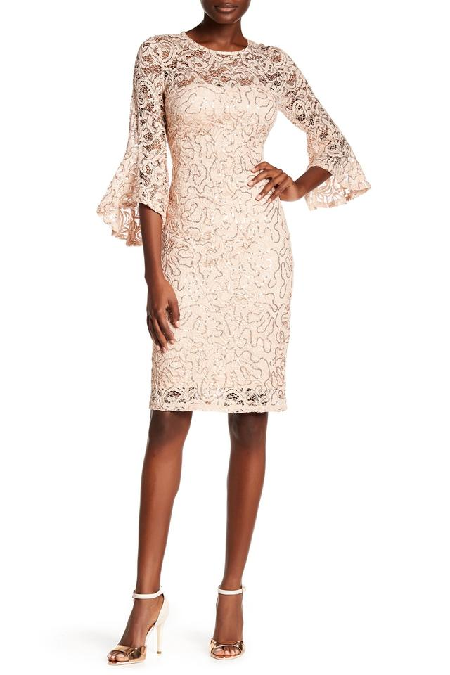 202dbd43a8 Marina Pink Special Occasion Sequin Lace Bell Sleeve Sheath Cocktail Dress