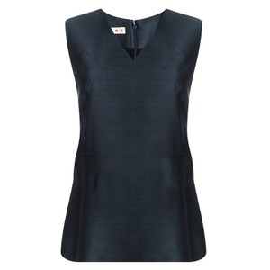 Marni Panel V-neck Sleeveless Wool Silk Top Blue