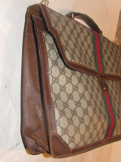 Gucci Xl Laptop/Briefcase Excellent Vintage Rare Early Cross Body/Handheld Re-released Style Tote in brown large G logo print coated canvas and brown leather Image 1