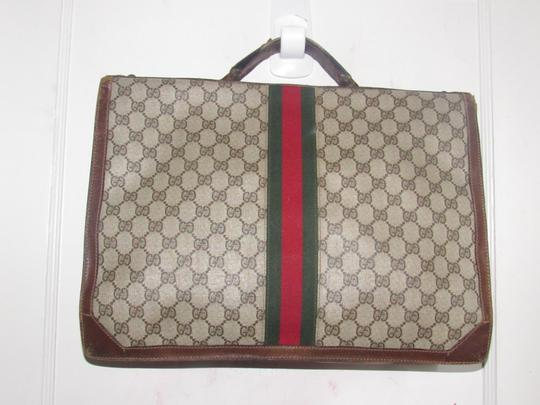 Gucci Xl Laptop/Briefcase Excellent Vintage Rare Early Cross Body/Handheld Re-released Style Tote in brown large G logo print coated canvas and brown leather Image 11