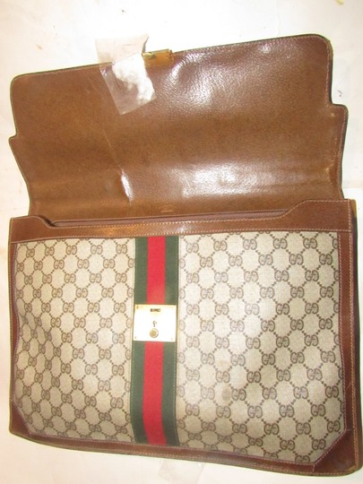 Gucci Xl Laptop/Briefcase Excellent Vintage Rare Early Cross Body/Handheld Re-released Style Tote in brown large G logo print coated canvas and brown leather Image 3