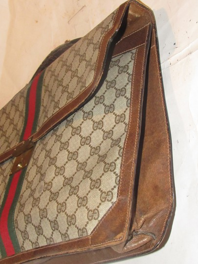 Gucci Xl Laptop/Briefcase Excellent Vintage Rare Early Cross Body/Handheld Re-released Style Tote in brown large G logo print coated canvas and brown leather Image 7