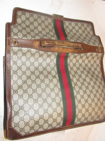 Gucci Xl Laptop/Briefcase Excellent Vintage Rare Early Cross Body/Handheld Re-released Style Tote in brown large G logo print coated canvas and brown leather Image 9