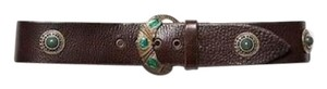 Free People Brown And Emerald Green Inlaid Stone Boho Leather Waist Belt